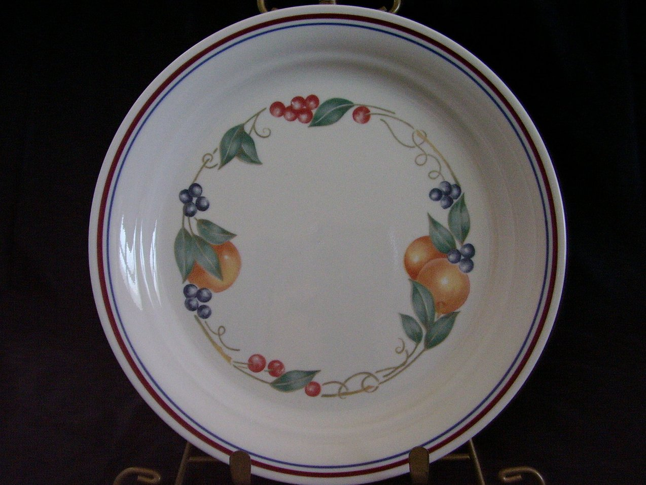 Corelle Impressions Abundance Lunch Plate Fruit Red Blue Ban