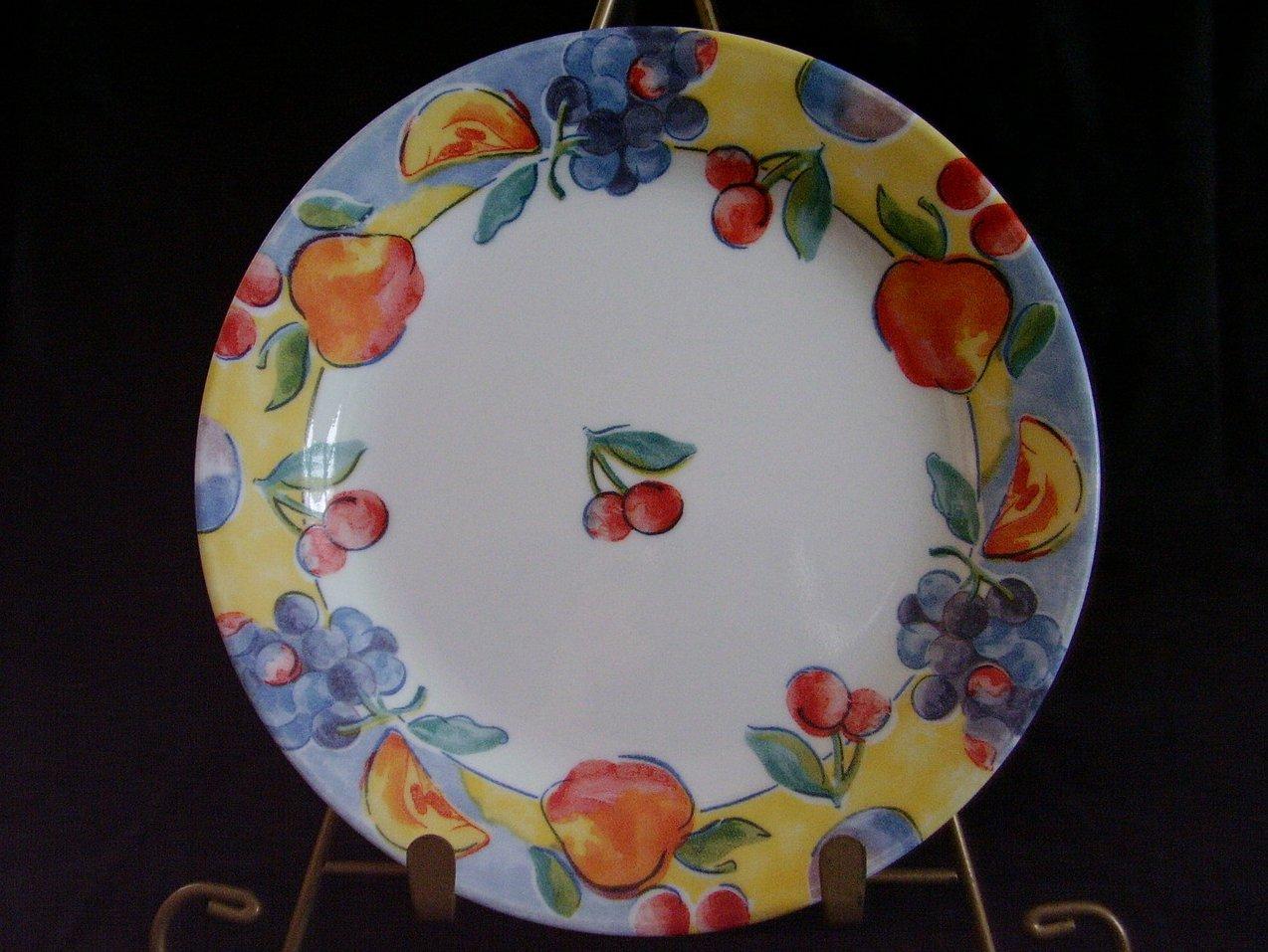 Corelle Fruit Basket Bread Butter Plate Cherries Apples Grap