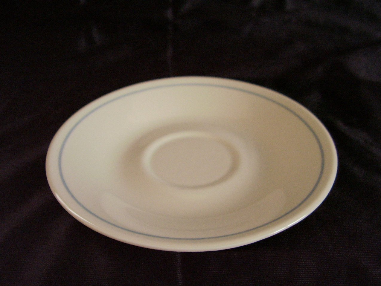 Corelle First of Spring Saucer Off White Almond Blue Band