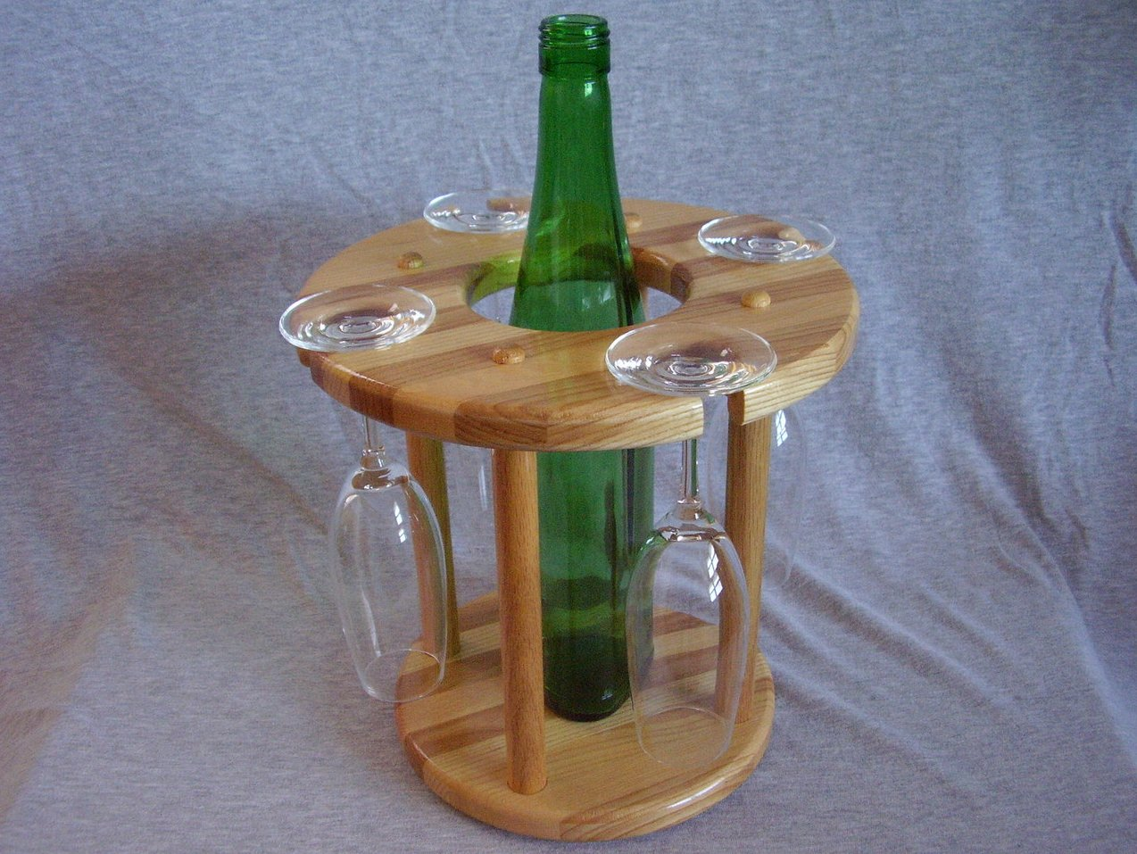 Handmade Hickory & Ash Wood Wine Bottle Glass Rack