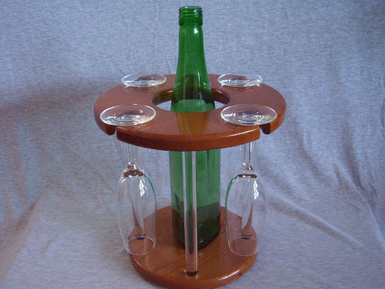 Handmade Cherry Wood & Acrylic Wine Bottle Glass Rack