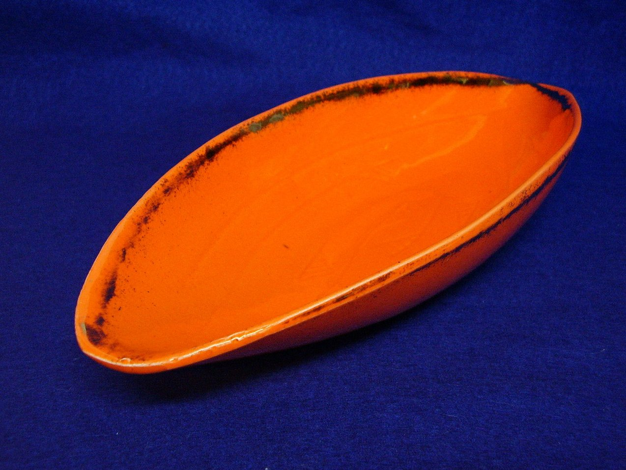 California USA Orange Gold Canoe Boat Dish 50s Retro