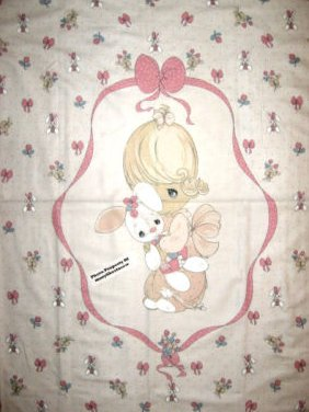Girl Bunny Precious Moments Crib quilt top Fabric wall Panel hrow to sew Rare