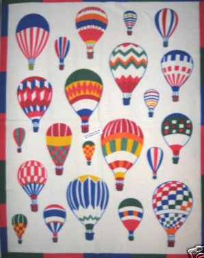 Hot Air Balloon Fleece Blanket Panel with finished edges