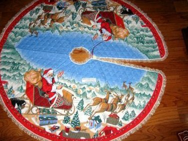 Santa Reindeer Snow large 58 Christmas Tree Skirt Finished with lace edge