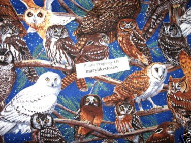 Owls Sewing Fabric by the 1/2 yard looks like Hedwig in Harry Potter movies