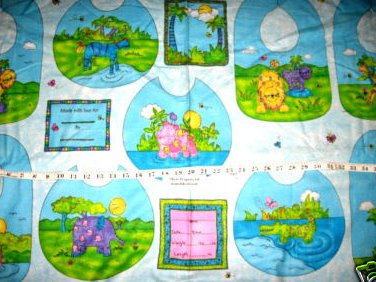 Flannel Fabric Super Soft 9 Baby Bibs Animals Panel to Sew
