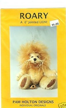 Sewing pattern for a 6 Jointed Roary the Lion to make with a Mohair look
