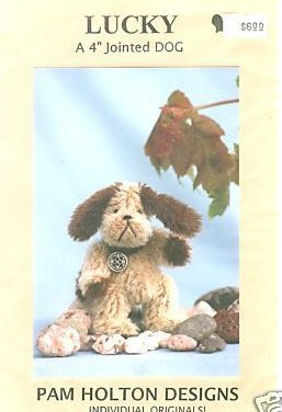 Pattern for a  4 Jointed Mohair Lucky Dog you Sew