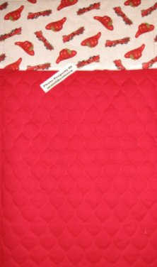 Quilted handmade changing pad or for toddler daycare nap pad firetrucks