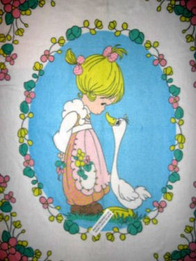 Precious Moments fleece blanket Goose Girl  Rare with finished serged edges