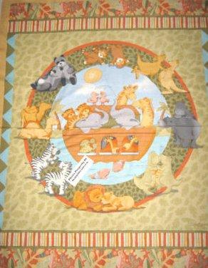 Noah's Ark Panda Monkey Zebra Hippo fabric wall and pillow panel Set to sew