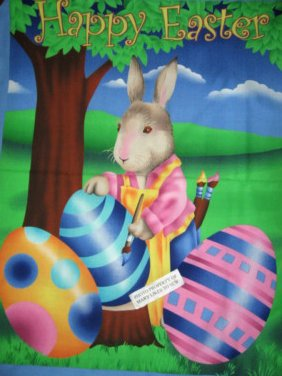 Easter Bunny painting Eggs Fabric Wall door panel to Sew