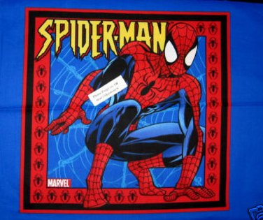 Spiderman and his web jumping orignal Fabric Pillow Panel set of two the same