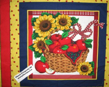 Sunflower apples basket ribbon bow Fabric pillow panel to sew