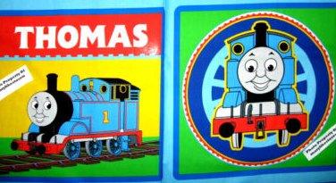 Thomas the Tank train engine locomotive two original fabric Pillow Panels