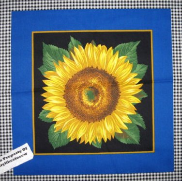 Sunflowers and black Checks Fabric pillow panel set of two to sew