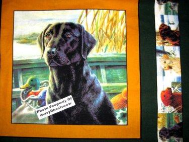 Black Labrador Retriever Fabric Pillow Panels to sew last one rare