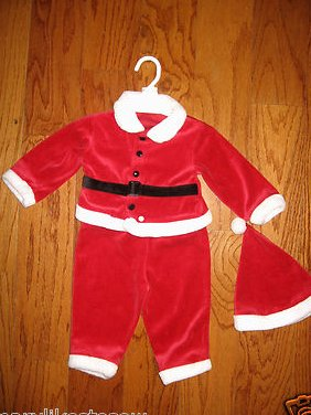 Santa Claus  Christmas Camera Photo Shoot Size 12 mo 3 pc  hat jacket pants /