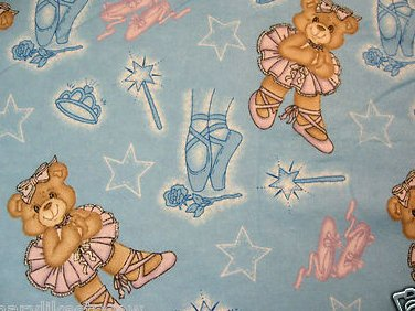 Teddy bear ballet tutus Flannel baby Blanket 28X41 Small size receiving