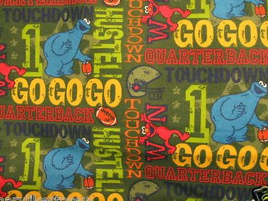 Image 0 of Sesame street Elmo Cookie Football Baby or toddler daycare flannel Blanket new