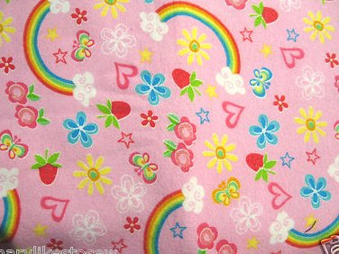 Rainbows hearts flowers Baby receiving or Toddler Nap pink Flannel Blanket