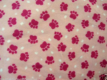 Image 0 of Pet dog or cat or baby blanket pink puppy paw prints new handmade