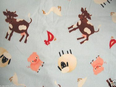 Riley Blake design Farm Animals Cow sheep duck Flannel Baby Receiving Blanket