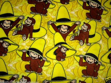 Curious George cowboy Licensed handmade fleece baby blanket  29X35