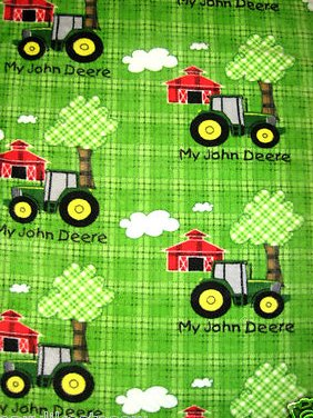John Deere Tractors green baby blanket handmade with Licensed fleece