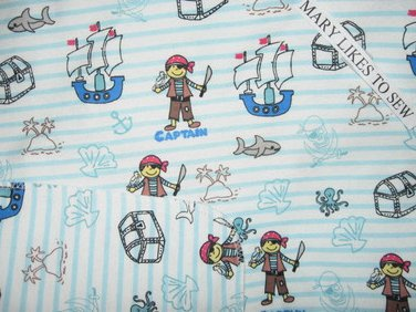 Pirates on Both sides 42X46 Double flannel Baby Crib or Toddler Nap Bed Blanket