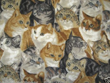 Cat faces fleece blanket  pet  crate or toddler drag along car seat nap  29X36