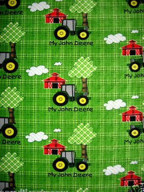 John Deere tractor green Licensed handmade fleece baby blanket