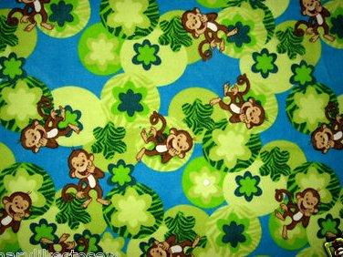 Image 0 of Whimsical Monkey and flowers toddler drag along Blue fleece blanket