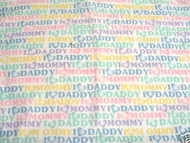 I love Daddy Mommy Handmade 36X41 Baby receiving or Toddler Nap Flannel Blanket