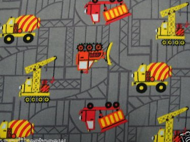 Construction truck handmade Fleece Baby toddler Blanket 45 long