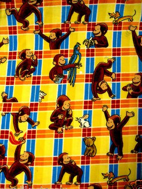 Curious George plaid Licensed handmade fleece baby blanket  22X44