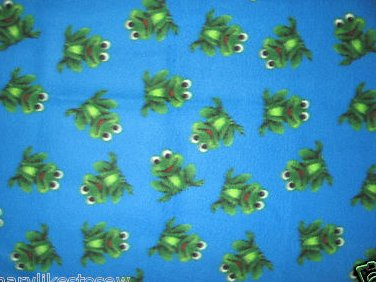 Image 0 of Frogs blue Handmade for boy toddler child bed size fleece blanket