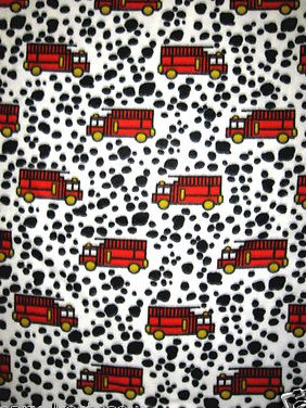 Firetruck Dalmatian Baby or Toddler Daycare Handmade fleece blanket 29X45 long
