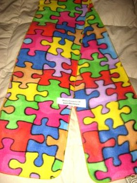 Image 0 of Puzzle Piece Autism Awareness Fleece Scarf with Finished edge No Fringe