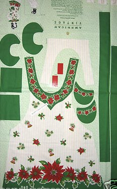 Christmas Pointsettia Adult aprons One Cotton Fabric Apron Panel to sew