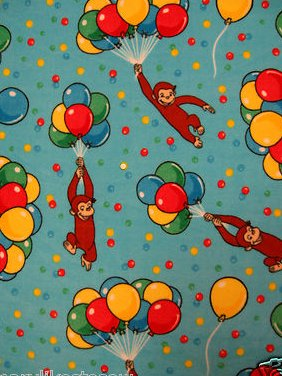 Curious George balloons Licensed handmade fleece toddler blanket 29X45