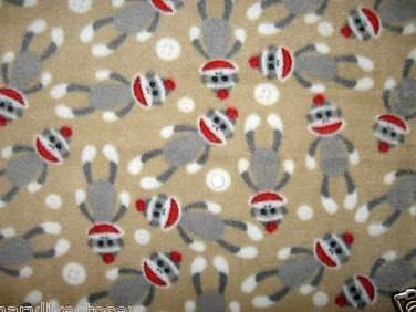 Sock Monkey white buttons Fleece baby blanket toddler day care comfort 29X36