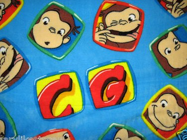 Curious George faces Licensed handmade baby or toddler fleece blanket  28X38