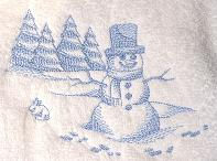 Thumbnail of Snowman Toile Towel Winter Scene