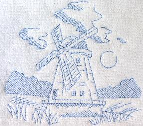 Thumbnail of Windmill Toile Towel Classic blue toile French country Decor