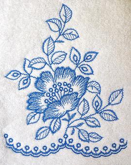 Thumbnail of Blue Flower Toile towel Wild Country Rose Toile