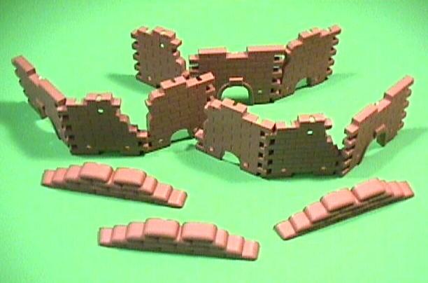 Battlefield Brown Plastic 12 Piece Set Of Wall Building Ruins
