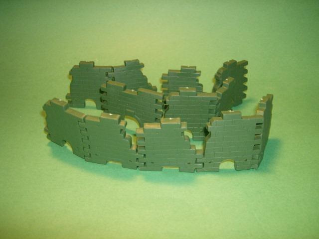 Green Plastic 12 Piece Brick Wall Ruins Set #2
