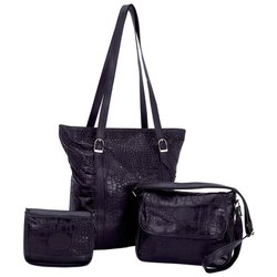 LUPSC   Embassy™ Solid Genuine Leather 3pc Purse Set with Crocodile Emboss